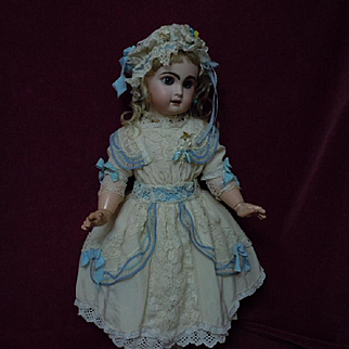 Old silk Dress w/ Petticoat Cap for french bebe Jumeau size 10