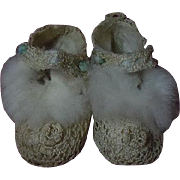 All Original Antique pure silk Shoes Booties for french Bebe Jumeau Steiner doll