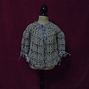 Beautiful Antique Blue Lavender wool silk Sweater for baby compo german french bisque doll