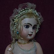 Exquisite All original Antique Wax Crown Tiara Orange Blossom  for antique french bebe Jumeau Steiner Bru