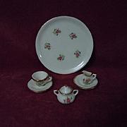 Lovely Vintage floral porcelain gilded trim doll Tea Set 7 pcs