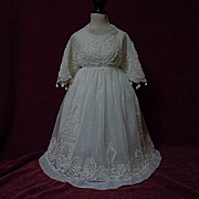 All Original Antique 19th Century Soutache Embroidery Net lace Dress w/ Slip for french bebe Jumeau doll