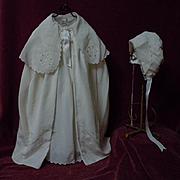 Lovely Old Christening Set Dress Slip Cape Bonnet for german french huge bisque doll