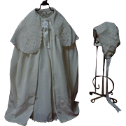 Lovely Old Christening Set Dress Slip Cape Bonnet for german french huge bisque doll