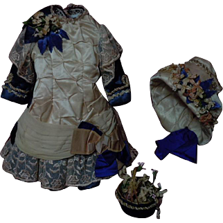 Gorgeous Silk Couturier Costume Dress Hat Basket  for french bebe Jumeau Steiner Bru doll