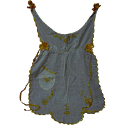 Exquisite all Original  Antique Victorian era Gold silk embroidery batiste Apron Pinafore Museum Quality