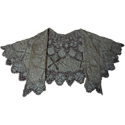 Superb All Original Antique Victorian pure Silk Maltese Bobbin Lace Collar Capelet