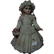 Exquisite french bebe Couturier Costume Dress w/ Petticoat Cap Basket Necklace for antique Jumeau Steiner Bru doll
