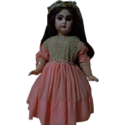 All Original Old pure silk Coral Crepe Irish lace Dress for french bebe Jumeau Steiner doll