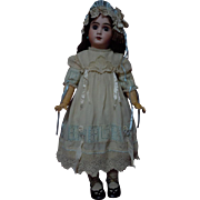 Beautiful Taffeta Lace insertion Dress w/Cap for antique german french bisque huge doll