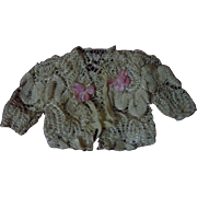 Exquisite pure silk tiny Sweater for antique french bebe Bleuette cabinet size doll