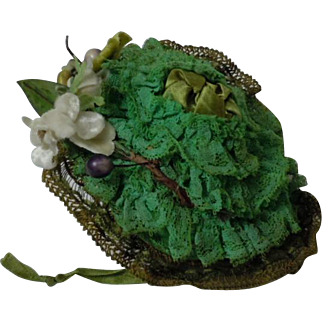 """Antique 19th Century Hat for 12-14"""" french bebe Jumeau size 3 to 5 cabinet sized bisque doll"""