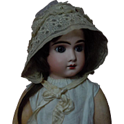 Precious Antique organza Cap Bonnet 19th Century for french Bebe Jumeau Bru doll