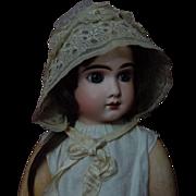 Precious Antique organza Cap Bonnet 19th Century for french Bebe Jumeau Bru doll