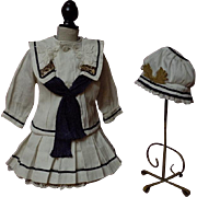 Gorgeous Antique french bebe Sailor Marine Costume Dress w/ Petticoat Jacket Beret for Jumeau Steiner doll