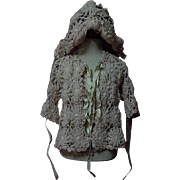 Exquisite Antique early century wool silk Jacket Bonnet for french bebe Jumeau Steiner doll