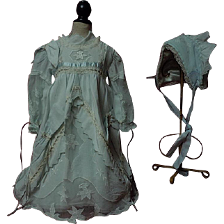 Exquisite Taffeta Lace insertion Dress w/Cap for antique german french bisque huge doll