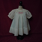 All Original Old 1940's hand smocked organza Dress Batiste Slip for german composition bisque doll