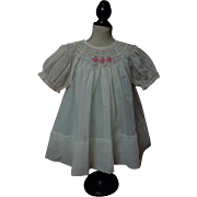 All Original 1940's hand smocked organza Dress Batiste Slip for german composition bisque doll