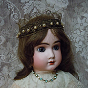 Exquisite Couture Crown Headband for antique french bebe or wax doll