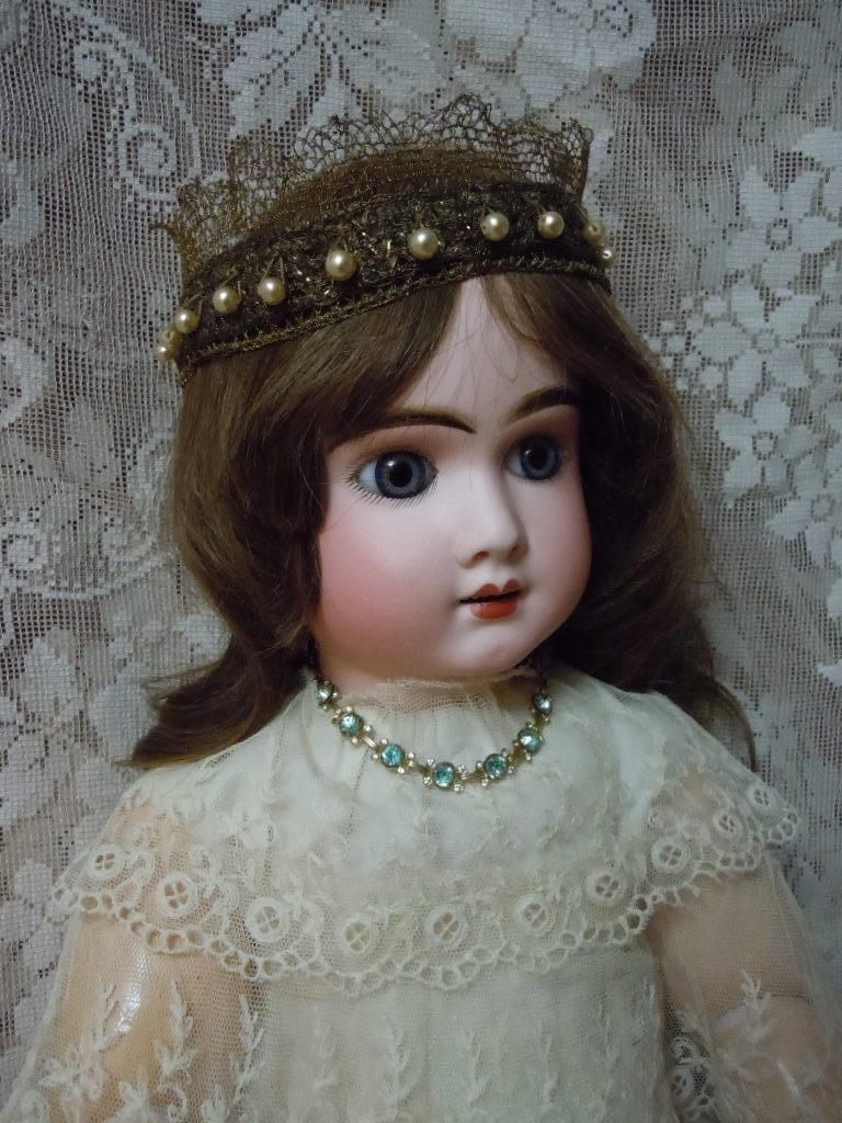 Exquisite Couture Crown Headband for french bebe or wax doll