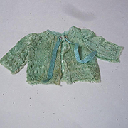 Exquisite antique pure silk tiny Sweater for french bebe Bleuette cabinet size doll