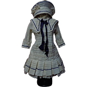 Beautiful french bebe Sailor Marine Costume Dress w/ Petticoat Beret for Jumeau Steiner doll