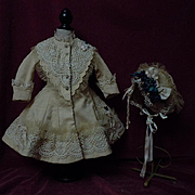 Gorgeous pure Linen Couturier Costume Dress Slip Hat for french bebe Jumeau Steiner Bru doll