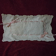 All Original Antique Embroidered Linen cradle Pillow for dolls decor