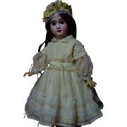 Lovely chiffon taffeta Dress w/ Cap for huge bisque doll