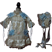 Gorgeous antique satin silk Dress w/ Tulle Petticoat and Bonnet for french bebe Jumeau Steiner doll