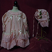 Gorgeous Old Rose taffeta Dress w/ Cap for antique german french huge bisque doll