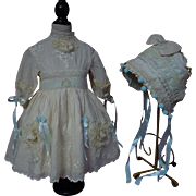 Exquisite Old genuine silk Dress w/ Petticoat Bonnet for french bebe Jumeau Steiner Bru doll