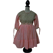 All Original Antique early century pure silk Coral Crepe Irish lace Dress for french bebe Jumeau Steiner doll