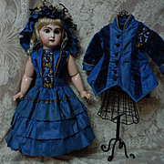 Superb pure Silk Dress Jacket Hat french Bebe Couturier Costume for Jumeau Steiner Bru doll