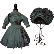 Exquisite french bebe Couturier Costume Dress w/ Petticoat Hat Basket for antique Jumeau Steiner Bru doll