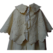 Antique Woolen Silk Christening Cape Bonnet exquisite pure silk Embroidery for german french huge bisque doll