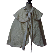 Antique Woolen Flannel Christening Cape exquisite pure silk Soutache Embroidery for german french huge bisque doll