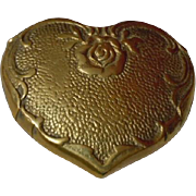 Old Solid heart shaped Brass Box antique Dolls Decor