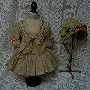 Gorgeous chiffon  Couturier Costume Dress w/ petticoat Capelet and Hat  for french bebe Jumeau Steiner Eden Bru doll