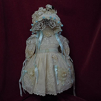 Exquisite antique Dress w/ Petticoat Bonnet for french bebe Jumeau Steiner Bru doll