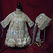 Gorgeous antique satin silk Dress and Bonnet for french bebe Jumeau Steiner doll
