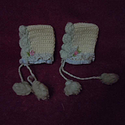Lovely Pair of Antique Woolen Doll Bonnets for french german mignonette Bleuette size doll