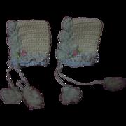 Lovely Pair of Antique Woolen Doll Bonnets for french german mignonette Bleuette size doll