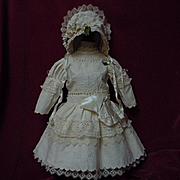 "Beautiful Antique Embroidered Pique Dress w/ Petticoat Hat for 25"" french bebe Jumeau doll"