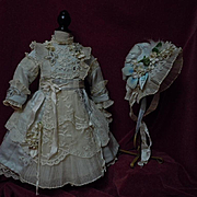 "Exquisite french bebe Couturier Costume Dress w/ Petticoat Hat for 23-25"" antique Jumeau Steiner Eden doll"