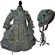 """Exquisite french bebe Couturier Costume Dress w/ Petticoat Hat for 23-25"""" antique Jumeau Steiner Eden doll"""
