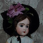 Gorgeous antique  wire frame silk velvet Hat for huge french bebe doll