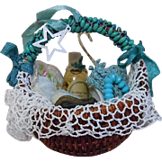 Beautiful mid century Rattan Wicker Basket w/ 8 doll accessories Pillow Perfume Soap holder Necklace Purse