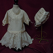 Exquisite antique pure silk hand embroidered Dress for french Bebe Jumeau Steiner doll